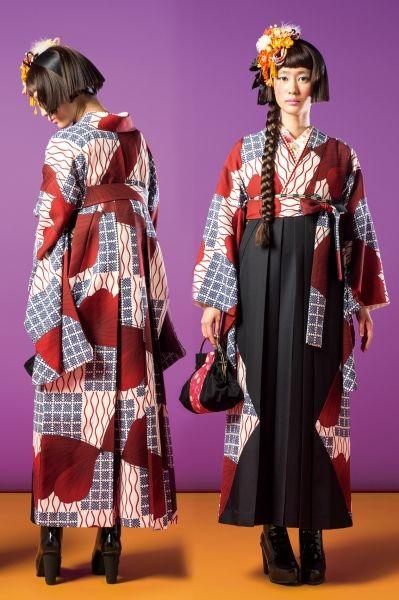 Two toned graphic hakama ensemble