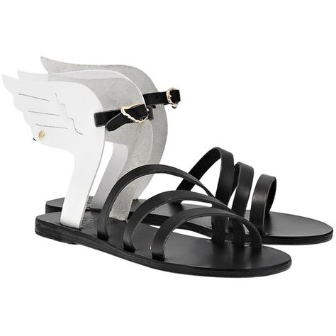 Pre-owned Ancient Greek Sandals Ikaria Black White Sandals ($189) ❤ liked on Polyvore featuring shoes, sandals, black white, holiday shoes, black and white leather shoes, black and white evening shoes, wing shoes and evening shoes