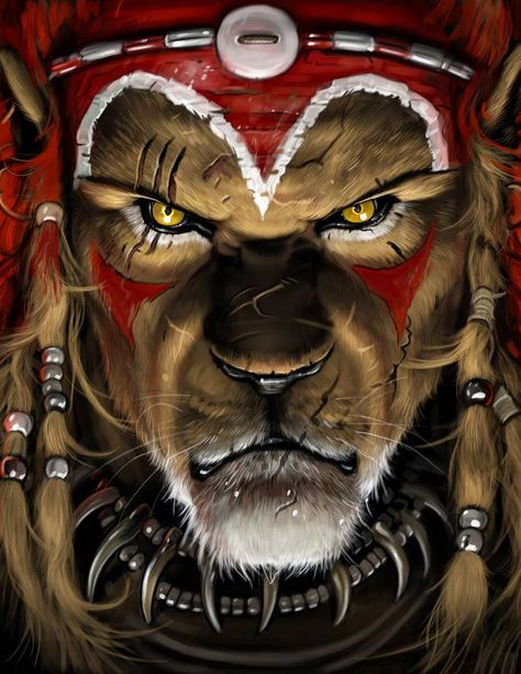 Untitled image by Azulestrellla often associated with Shango: lion (royalty), red/white ileke on his head with a kind of cowry shell, a collar with thunderstone looking elements, braided hair.