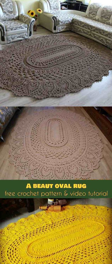 Crochet Afghans Patterns A Beaut Oval Rug [Free Crochet Pattern and Video Tutorial]A Beaut Oval Rug [Free Pattern] Crochet Diy, Crochet Afghans, Crochet Doily Rug, Crochet Rug Patterns, Crochet Carpet, Crochet Amigurumi, Crochet Home, Crochet Gifts, Amigurumi Toys
