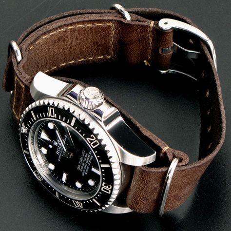 Rolex Sea-Dweller Deepsea x Leather Nato Gunny Straps    by petergunny + 3559 Autres