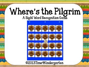 Where's the Pilgrim A Sight Word Recognition Game