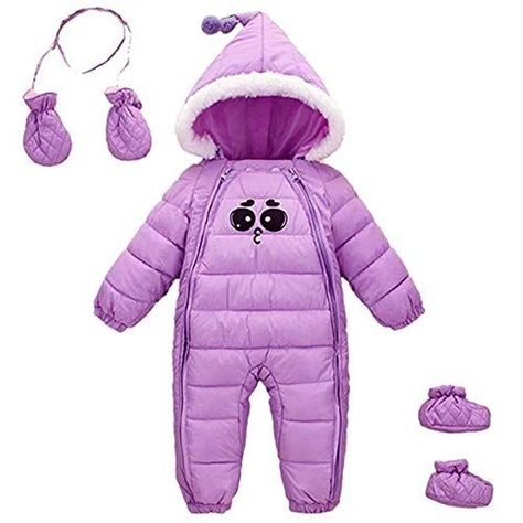 Beide Baby Boys Girls Winter Snowsuit Thick Outwear Jumpsuit with Shoes and Gloves