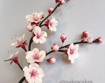 Gum Paste Cherry Blossom Branch Will Brighten Up Any Cake Gum Paste Flowers Sugar Flowers Tutorial Beaded Flowers Patterns