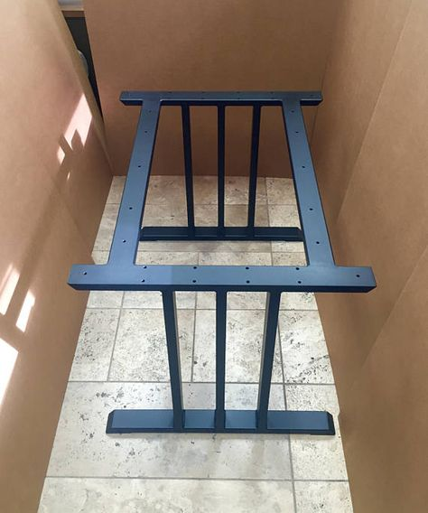 Design Dining Table Base, Heavy Duty Sturdy Steel Base, 2 Legs With 2 Upper Braces