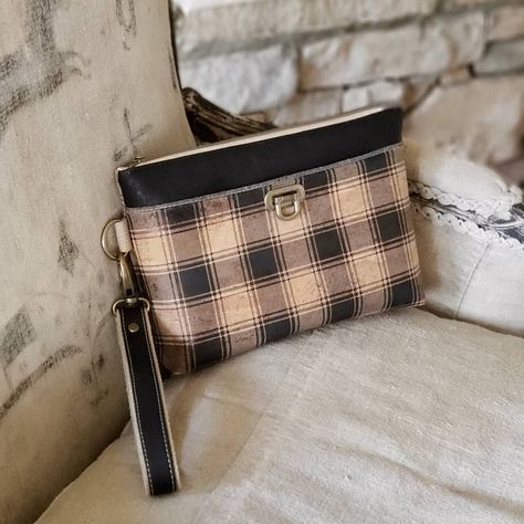 Two Color Plaid Bucket Bags w//Genuine Leather Trim Personalized Front Large