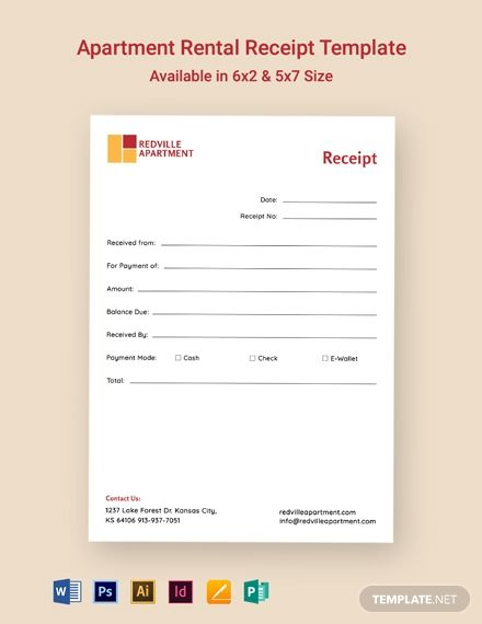 Apartment Rental Receipt Template Word Psd Indesign Apple Mac Pages Publisher Illustrator Receipt Template Rental Apartments Templates