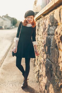 The Clothes Horse: Outfit: It's My Birthday Layer a white shirt under a black dress, cuff sleeves, add tights