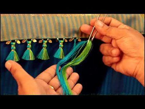 Beaded saree kuchu design with double colour / Silk Saree tassels - YouTube