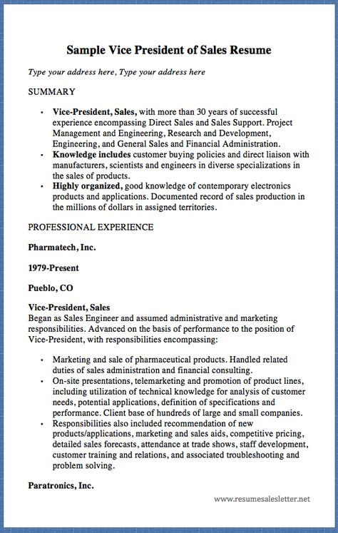 Sample Vice President of Sales Resume Type your address here, Type