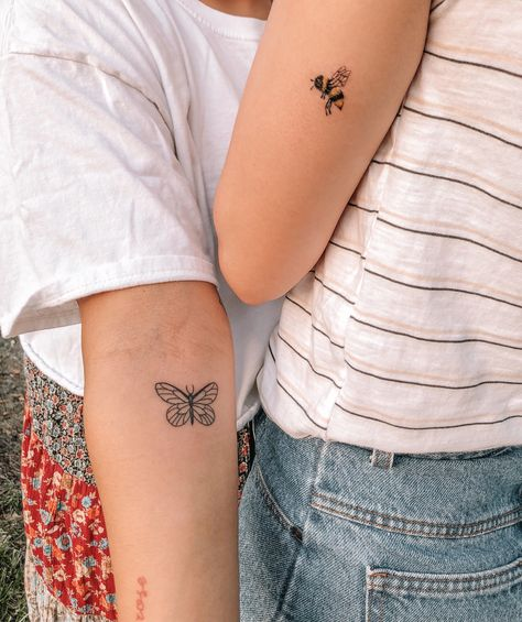 Float like a butterfly, sting like a bee. Matching best friend tattoos.
