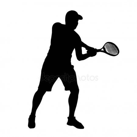 Man Tennis Player Vector Silhouette Isolated On White Background Stock Sponsored Player Vector Man Tennis Players Silhouette Graphic Design Pattern