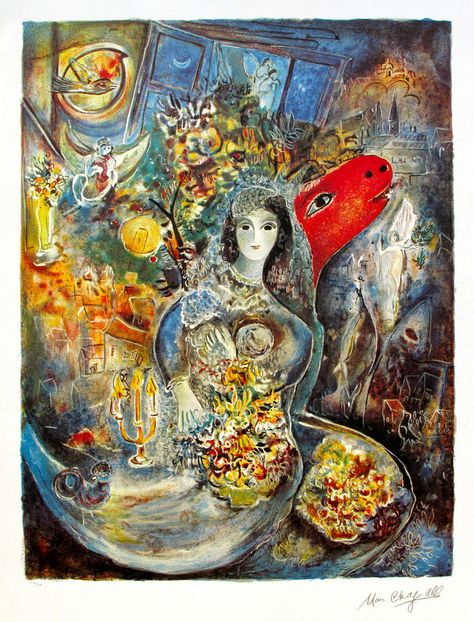 """MARC CHAGALL /""""WEDDING/"""" Limited Edition Facsimile Signed Lithograph Art"""