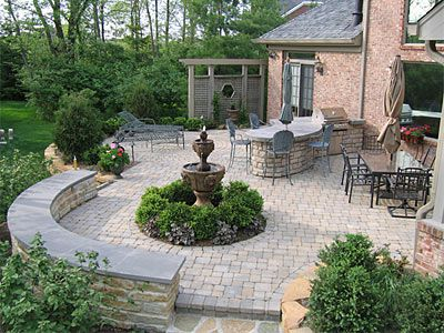 backyard hardscape half wall seating partially around the pool and ...