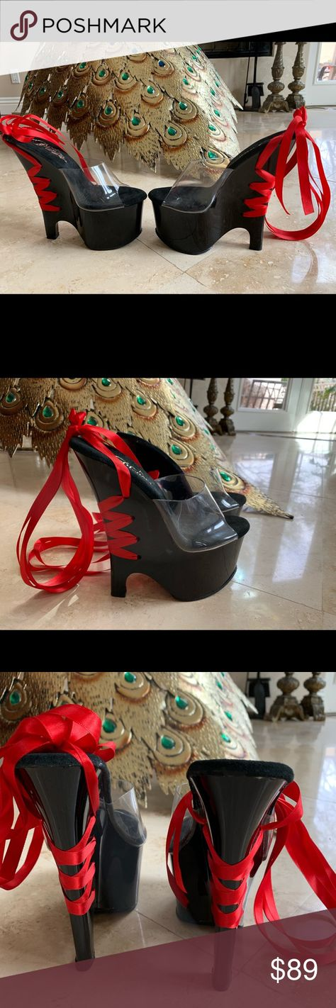 New Pleaser Lace Up Wedge Heels Size 5 Pleaser Lace Up Wedge Heels Size 5 Pleaser Shoes Heels
