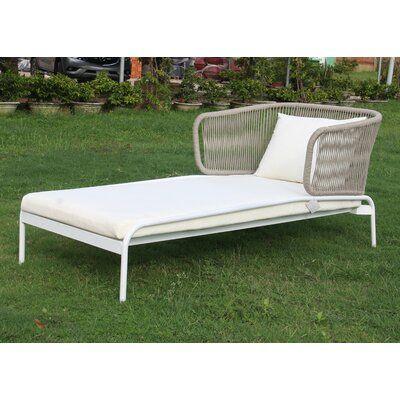Ishani Chaise Lounge With Cushion Bungalow Rose Lounge Chair Outdoor Teak Chaise Lounge Chaise Lounge