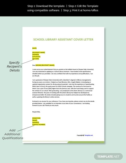 School Library Assistant Cover Letter Template Free Pdf Word Doc Apple Mac Pages Google Docs Cover Letter Template Letter Template Word Letter Templates Library assistant cover letters