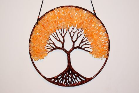 Suncatcher Tree Of Life, Wall Decor Hanging, Citrine Gemstone Wire Tree Sculpture