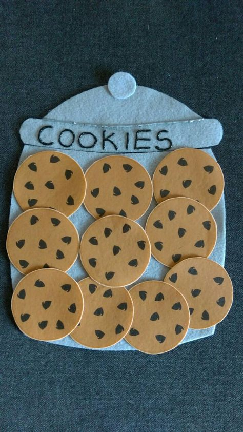 Who Stole the Cookies From the Cookie Jar Felt Set // Flannel Board Story Set // Preschool // Counting // Flannel Board Stories, Felt Board Stories, Felt Stories, Flannel Boards, Preschool Crafts, Toddler Activities, Preschool Activities, Daycare Crafts, Toddler Crafts