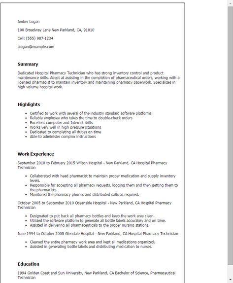 Resume For Pharmacy Tech Recommended Hospital Pharmacy Technician Resume Template Best Des Hospital Pharmacy Medical Technician Pharmacy Technician