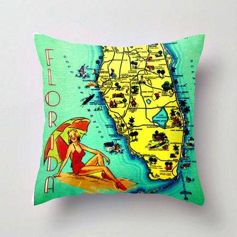 Sanibel Island Map Pillow Ft Myers
