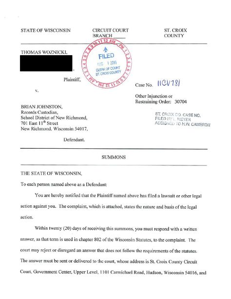 Thomas Woznicki vs Brian Johnston (New Richmond, Wisconsin) School - restraining order form