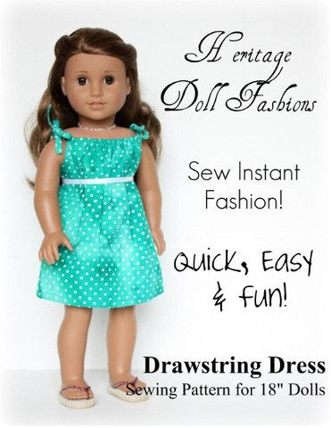FREE 18 inch doll clothes pattern Drawstring Dress | Heritage Doll Fashions | Pixie Faire PDF Download