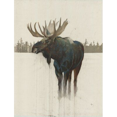 48 H X32 W Ready To Hang Golden Moose By Daniel St Amant Wildlife Wall Art On Wrapped Canvas Moose Painting Moose Wall Art Moose Pictures