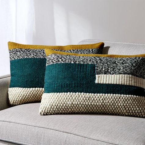 Sale ends soon. Shop Telma Color Block Lumbar Pillows Set of Color blocks of lush teal, golden mustard, cream and black come together in our playful yet elevated lumbar pillows. Teal Throw Pillows, Decorative Throw Pillows, Accent Pillows, Modern Pillows, Handmade Pillows, Crate And Barrel, Mustard Bedroom, Mustard Sofa, Mustard Cushions