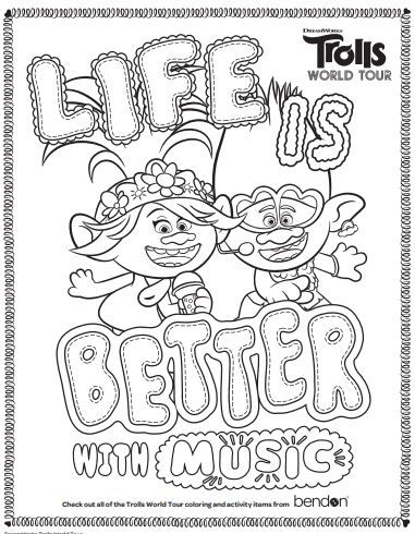 Color Trolls World Tour Coloring Pages Princess Coloring Pages Disney Coloring Pages