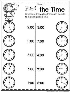 Digital and Analog Clock Matching - Telling Time Worksheets ...