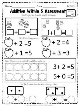 Math Centers Kindergarten - Addition within 5 Worksheets and ...