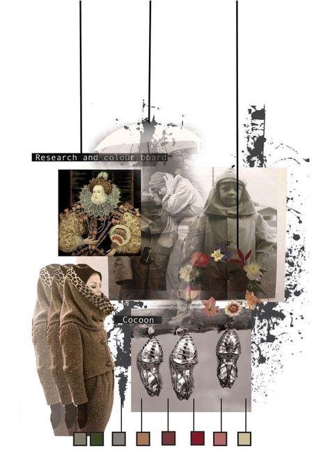 Fashion Portfolio layout - fashion design research and colour board; fashion sketchbook // Emma-Jane Lord