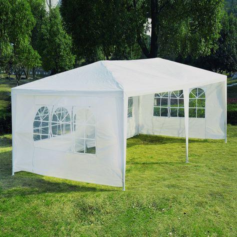 Outsunny 10 X 20 Gazebo Canopy Tent W 4 Removable Window Side Walls White Canopy Outdoor Backyard Canopy Gazebo Canopy