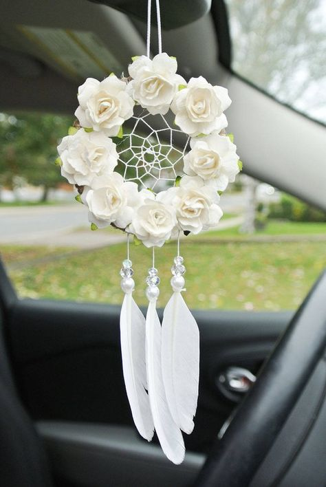 Boho Dreamcatcher Car Charm, Car Accessory for Woman, Flower Dream Catcher, Rearview Mirror, For Tee