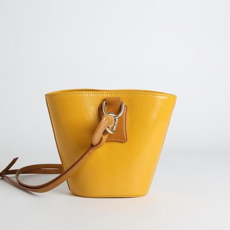 ef0628da2 Yellow Lock Leather Shoulder Bucket Bag with Canvas Inner Pouch ...