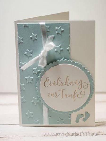 Handgemachte Einladung Zur Taufe In Blau Weihnachten