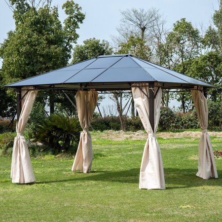 Outsunny 10 X 12 Outdoor Steel Hardtop Patio Canopy Gazebo Party Tent With Removable Curtains Walmart Com In 2020 Gazebo Tent Party Gazebo Patio Gazebo