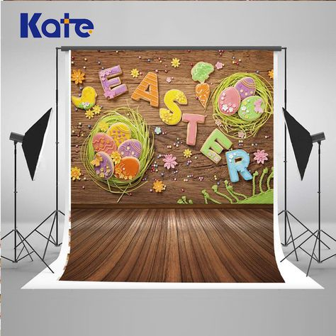 HUAYI Easter Backdrop Wooden Wall and Floor Eggs Photography Background Studio Photobooth Backdrops Children Shooting Props 8x6ft D-9908