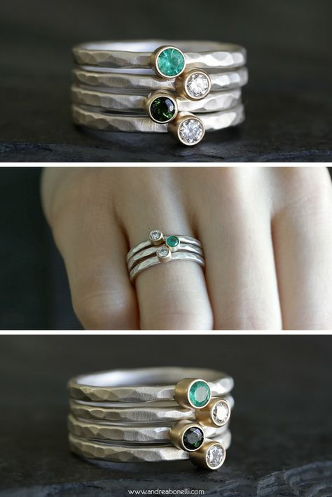 Rustic Gemstone & Diamond Mixed Metals Stacking Rings, Custom Made