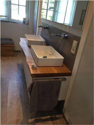 Waschbeckenunterschrank Mit Massiver Eiche Waschtischplatte Mit