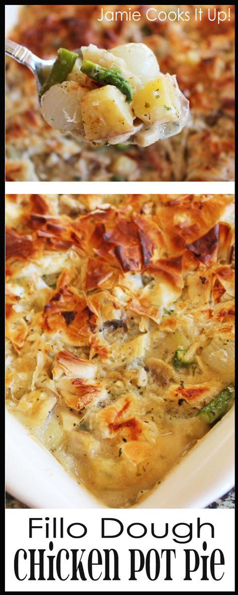 Fillo Dough Chicken Pot Pie from Jamie Cooks It Up! #whatsfordinner #chickenpotpie #jamiecooksitup #comfortfood