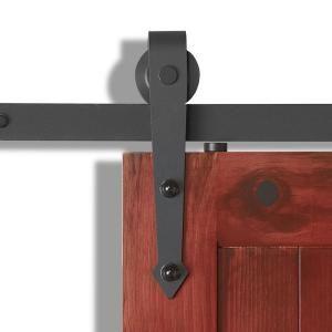 Jeld Wen 84 In Designglide Matte Black Soft Close Barn Door Sliding Door Hardware Kit Thdjw224500006 Sliding Door Hardware Barn Doors Sliding Door Hardware