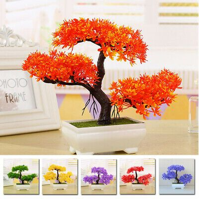 Artificial Plant Potted Bonsai Plastic Fake Tree Mini Pine Flower Pot Home Decor