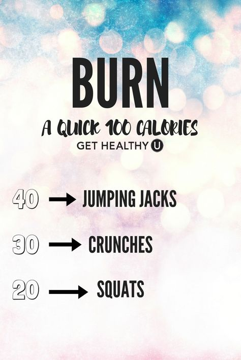 Do this quick workout to burn 100 calories fast! 100 Calorie Workout, Calorie Burning Workouts, 100 Workout, Basic Workout, Workout Tips, Workout Routines, Workout Gear, Free Workout Plans, At Home Workout Plan