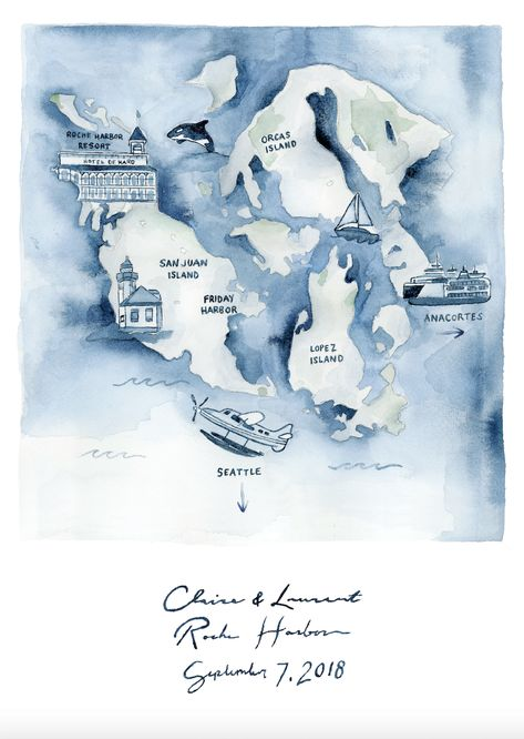Watercolor Wedding Maps Wedding Map Illustration Custom
