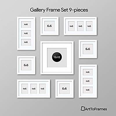 Amazon Com Arttoframes Picture Frame 9 Piece Wall Set 4 6x6 1 12x12 4 6x4 Inch White F Gallery Wall Layout Photo Wall Decor Picture Wall Living Room