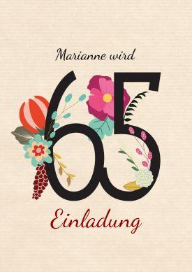 Schone Stilvolle Einladung Zum 65 Geburtstag Mit Zahl Und Blumen