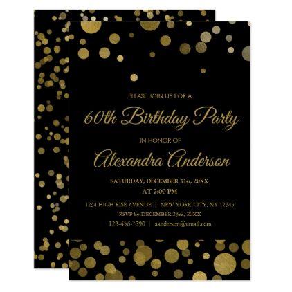 Gold 60th Birthday Party Gold Confetti Invitation Zazzle Com Birthday Party Invitations Diy Birthday Party Invitations 50th Birthday Party Invitations