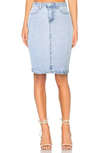 f9fa756447fc47 H HIAMIGOS Jupe en Jeans Femme Taille Haute Mi-Longue Jupe Crayon ...